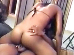 Smoking hot ebony babe takes a thick cock in her delicious ass