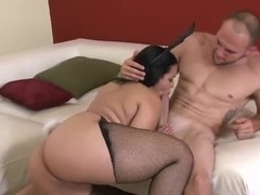 Adorable, curvy babe Angelina sucking a hard cock