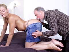 Sexy Ukrainian blondie licked and fucked by old experienced man - OldGoesYoung