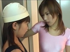 White and pink strap-on leotard asian lesbians