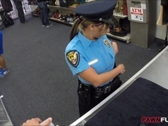 Security Officer pawns her stuff and fucked with pawnkeeper