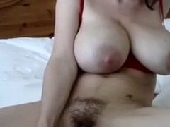 Busty wanton GF of my boyfrend drills her bushy juicy crack with big sex tool