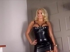 Hot blonde in latex dress