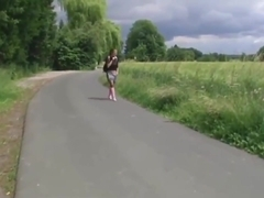 Pretty German girl in stockings fucked in the forest