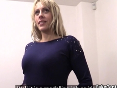 Milf swallowing cum on casting