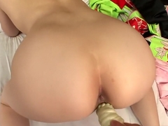 Oriental mom pleased with toys and cock