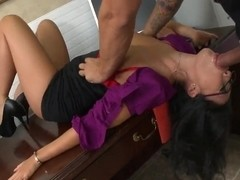 Pornstar in the glasses Asa Akira fierce office fuck