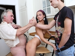 Elderly man fucks college girl, licks her pussy and fucks her slit happily - OldGoesYoung
