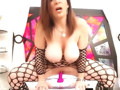 Nympho Milf Sara Jay Dildo Fucks & Squirts On Clear Chair!