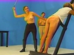 Caned by two mistresses until he bleeds