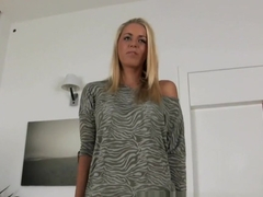 Blonde student gets juicy Creampie in Casting interview