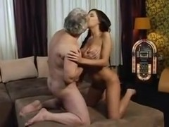 Busty brunette screwed by horny old man