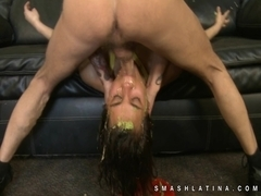Throat fucked latina gags badly