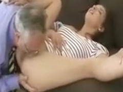 Hot young brunette babe gets pussy suck from this old guy