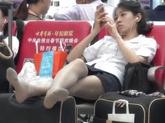 candid chinese girl in pantyhose