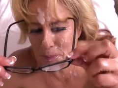 mature gets a huge facial