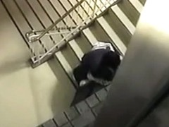 Hot mature japanese couple are fucking on the stairs